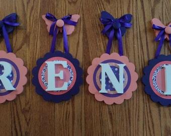Custom Hanging Letter Name Sign - Custom Girls Letter Shabby Chic Name Sign - Custom Hanging Nursery Letters