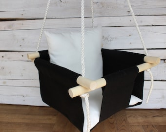 Black Swing for baby with white pillow linen Swing for toddler indoor outdoor swing for kids First birthday gift for girl or boy
