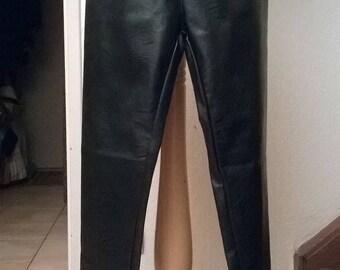 Faux black leather leggings