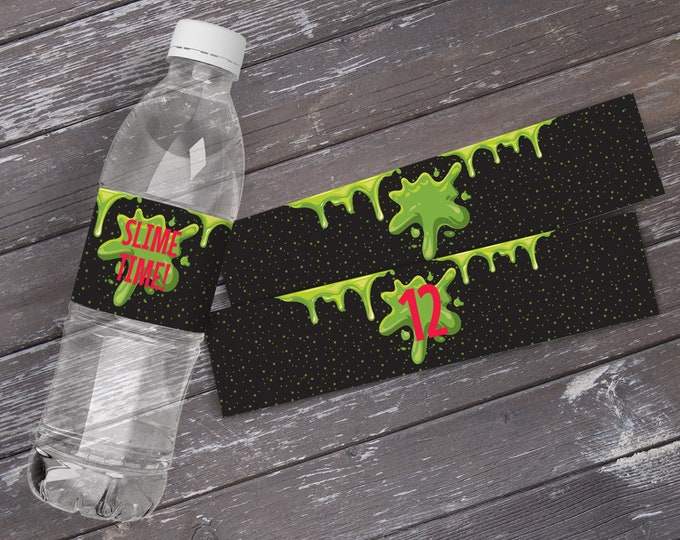 Slime Party Water Bottle Wrappers, Slime Time, Ghostbuster Slime Birthday Party, Bottle Wraps | DIY Instant Download PDF Printable