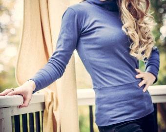 turtleneck sweaters (organic cotton interlock knit sweater)