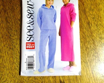 BOHO Loungewear - Hoodie Dress / Knit Hooded Sweatshirt & Pants - Size (Xsm - Sm - Med) - UNCUT ff Sewing Pattern Butterick 4326