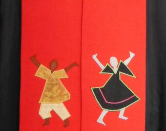 Clergy Stole - Praise Dancers in Multi-color Silk. Church pastors in multicultural ministry. Pentecost, ordination stole. Priest stole.