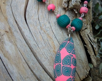 Teardrop Necklace Colorful Handmade Necklace Polymer Clay Necklace Leaf Pink Green Necklaces Unique Jewelry Boho Necklace Unique Gift