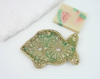 ceramic soap dish green, fish soap dish, ceramic soap holder, draining soap dish
