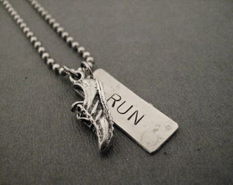 RUN RUNNER Necklace/Bracelet/Key Chain/Bag Tag - Shoe and Large RUN Hand Hammered Nickel Silver Pendant on Stainless Steel Ball Chain
