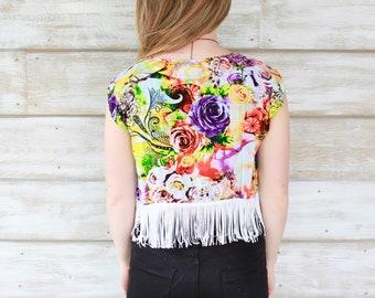 Kimono Jacket, Festival Kimono with Fringe, Short Kimono, Boho Chic Fashion, Bohemian Kimono Cardigan, Boho Kimono, Beach Kimono