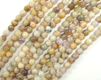 Purple Flower Jasper Beads, Round, 4mm, 15.5 Inch, Full strand, Approx 100 beads, Hole 0.5 mm, A quality (357054005)