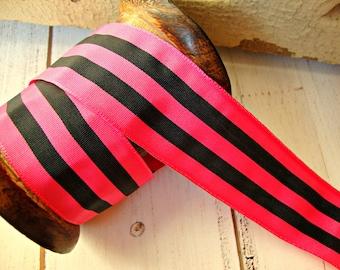 Hot Pink and Black Stripe Grosgrain Ribbon