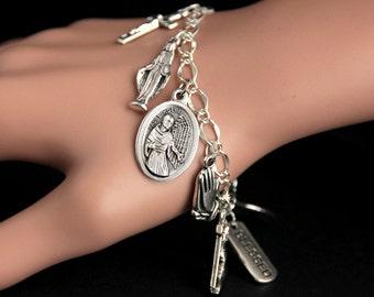 Saint Maximilian Kolbe Bracelet. Catholic Bracelet. St Maximilian Kolbe Charm Bracelet. Christian Jewelry. Religious Jewelry.