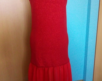 Long red evening sleeveless straps wide dress