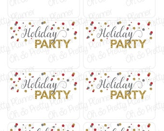 Holiday Party Planner Half Box Stickers featuring Confetti