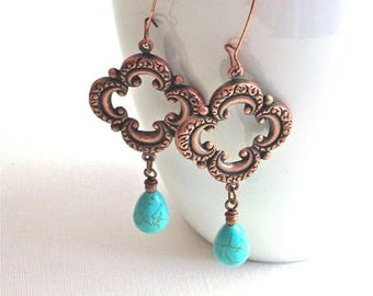 Turquoise Copper Earrings - Clover, Long Earrings, Bohemian, Turquoise Teardrop, Lightweight Earrings