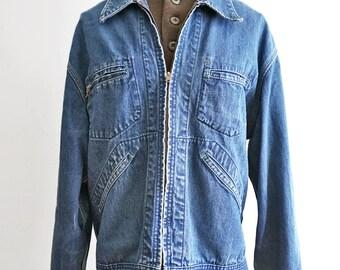 60s Oshkosh Denim Chore Jacket - Barn Railroad Work Zip Up Jean Jacket - Tag Size Mens 44 Regular