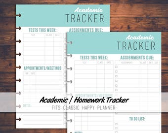 Printable Academic / Homework Tracker Digital Download, Back to School, School Planner, Homework Planner, pdf, Fits Classic Happy Planner