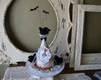 White witch hat Halloween centerpiece table decor Victorian style Good witch elegant Halloween decorations victorian altered art mixed media