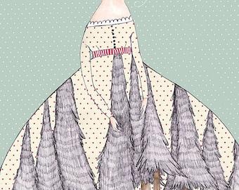 """MarmeeCraft art print, """"The Forest Skirt"""""""