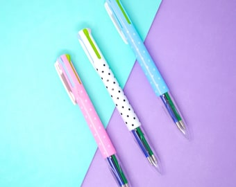Planner Pen, Pens, Kawaii POLKA DOT 4-in-1 Multicolor Pen, Pretty Planner Pen, Travel Journal Pen, Bullet Pen, Hobonichi Pen
