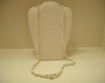 "Vintage 30"" White Plastic Beaded Necklace (2590)"