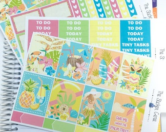 Aloha Weekly Kit | Planner Stickers, Weekly Kit, summer Weekly Kit, beach Weekly Kit, island holiday, Vertical Planner Kit, at the beach