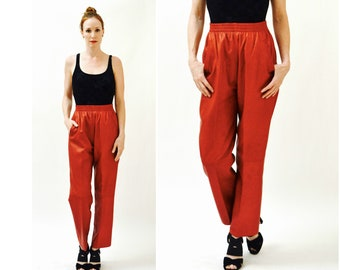 80s Vintage Red Leather Pants Size Large Elastic waist band High Waisted Leather Pants