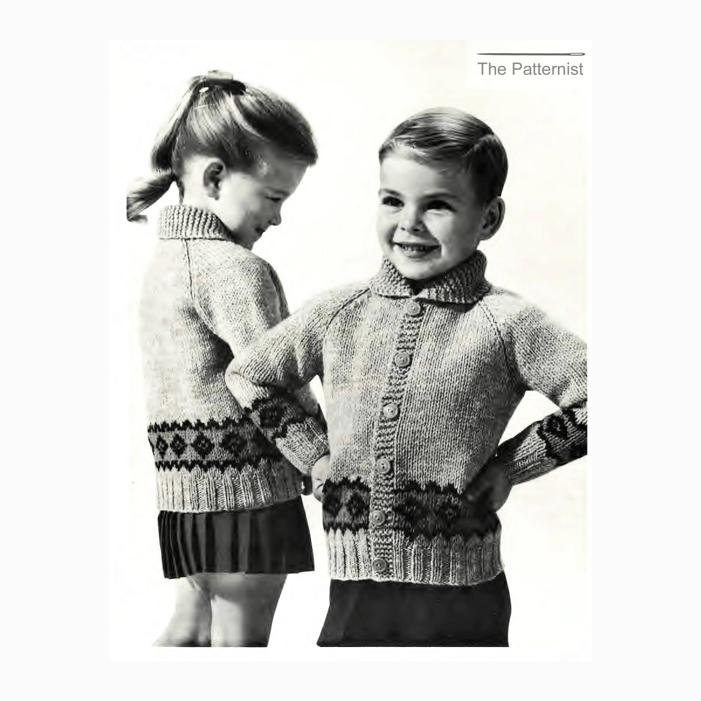 Vintage Knitting Pattern for Children\'s Raglan Cardigan Sweater ...