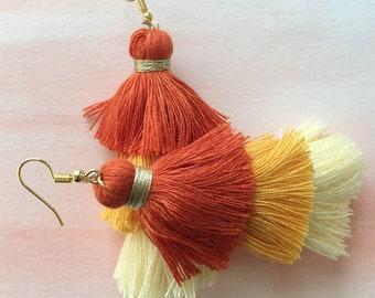 Orange Ombre Tassel Earrings
