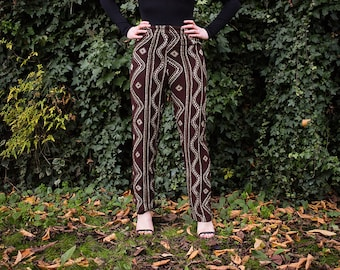 Vintage Brown Trousers Size S-M, Boho Printed Trousers, Tapered Leg Pants, High Waisted Trousers, Abstract Print 90s Trousers, 90s Clothing
