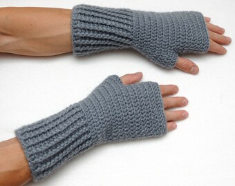Husband Gift for men Gift For Him Mens Fingerless Gloves Fingerless Mittens Mens gloves Gray Gloves Crochet Gloves Winter Gloves Knit gloves
