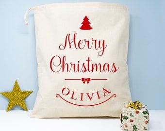 Personalised Merry Christmas Sack, Christmas Sacks & Stockings, Christmas Children's Gifts, Stylish Festive Sack, Festive Stocking for Kids