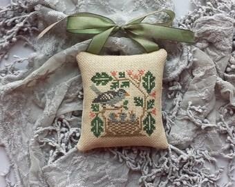 Lavender Sachet Nesting Birds Cross Stitch Hand Made Ornament Robin Rustic Primitive Pillow Pinkeep Shabby Chic Cottage Farmhouse Style