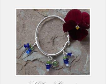 Bluebonnet Czech Flower Bead Charms on Zamak Halfbracelet