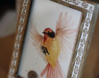 Original bird in flight watercolor