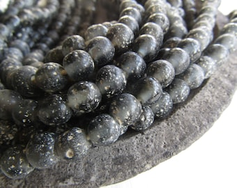 Round grey glass beads, rustic grey lampwork beads, translucent gritty textured aged look  indonesian 8mm - 9mm (16 beads)  6bb27-10