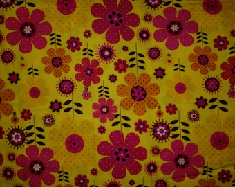 Modern Blossom Large Floral Print on Yellow Fabric by the yard