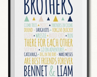 Brothers Print / Brothers Sign / DIGITAL / Aztec Print / Brother Print / Brothers Printable / Brothers Room Decor / Brothers Rules Print