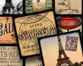 French digital collage sheet -- Balloons, Eiffel Towers, Ephemera in 2 inch squares -- piddix 636
