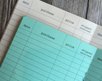 PURCHASE TRACKER Traveler's Notebook Insert  - Choose from 22 colors - 8 sizes available