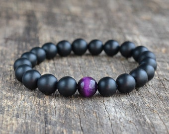 Purple Tiger Eye Bracelet Matte Onyx Bracelet Mens Bracelet Black Bead Bracelet Gemstone Bracelet Mens Womens Yoga Bracelet Gifts