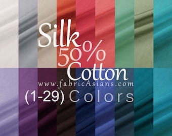 Silk Cotton Lining. 48 colors. Lining Fabric