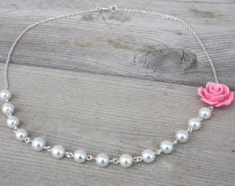 A Rose for Emily Necklace - Asymmetrical Pink Acrylic Rose and White Glass Pearl Necklace