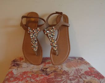 A Pair of size 7 / 40,  Ladies spangled sandals.