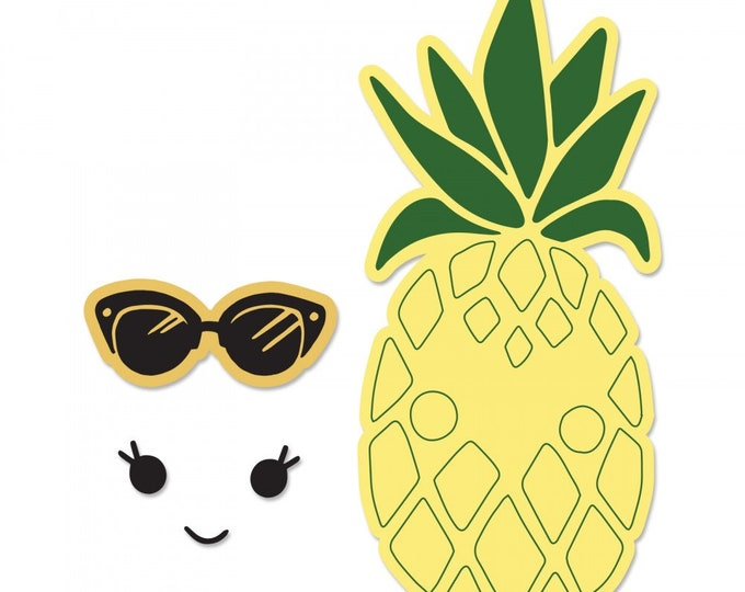 New! (will ship May 24th) Sizzix Framelits Die Set 2PK w/Stamps - Sunny Pineapple by Katelyn Lizardi 662933