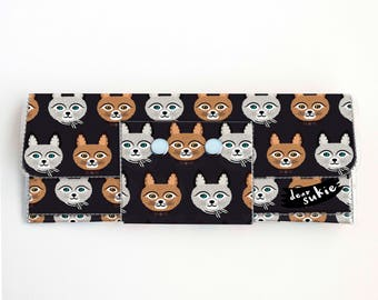 Vinyl Long Wallet - Big Meow1 / vegan, large wallet, clutch, card case, vinyl wallet, handmade, cat, kitten, cat lover, cat lady, kids