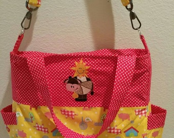 SALE:Fun on the Farm Diaper Bag/Tote with embroidered cow