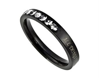 "Ebony Princess Ring ""Christ My Strength"""