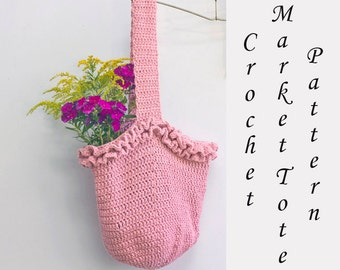 Market Tote Crochet Patterns, Ruffle Purse Bag Pattern, Instant Download PDF Crochet Market Bag Pattern,  Book Bag, Beach Bag