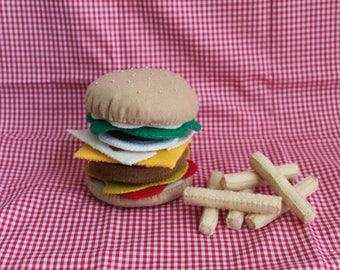 Felt Play Food Cheeseburger and French Fries, Play Food Fun, Play Set, Pretend Play Food,