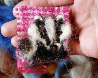 Needle-felted Harris Tweed Badger brooch