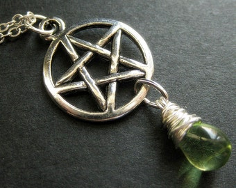Wiccan Necklace. Silver Pentagram Necklace. Teardrop Necklace. Green Necklace. Handmade Jewelry.